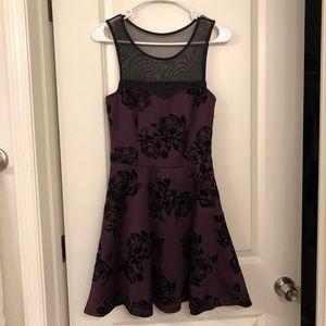 Purple / Plum Trixxi Juniors' Velvet-Print Dress